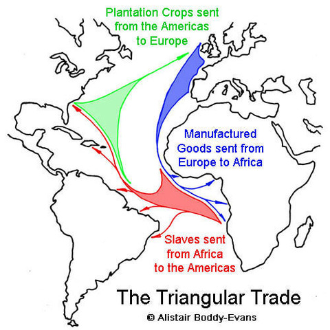 triangular trade 1492 1750 Triangular trade definition, a pattern of colonial commerce in which slaves were bought on the african gold coast with new england rum and then traded in the west indies for sugar or molasses, which was brought back to new england to be manufactured into rum.