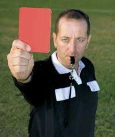First Red and yellow cards