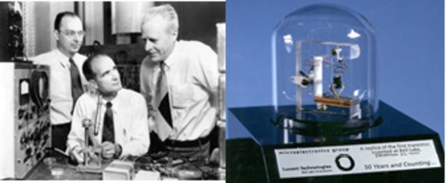 Inventan el transistor de estado sólido (semiconductor) porShockley, Bardeen y Brattain