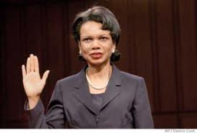Resignation Effective with Confirmation of Condoleezza Rice