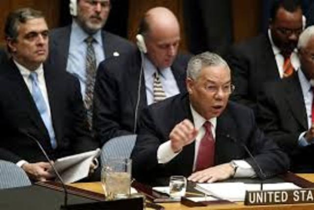 Powell at United Nations Security Council speaks about Iraq