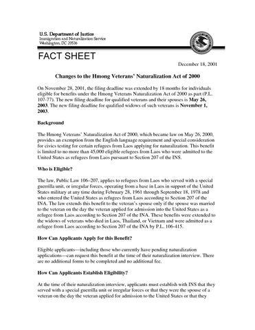 Hmong S Naturalization Act Of