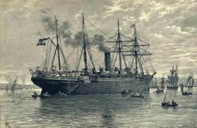 el barco de vapor clermont de fulton remonta el rio hudson