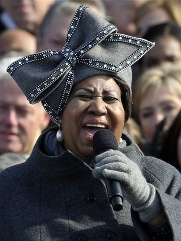 "Aretha sings ""My Country Tis of Thee"" At President Obama's inauguration"