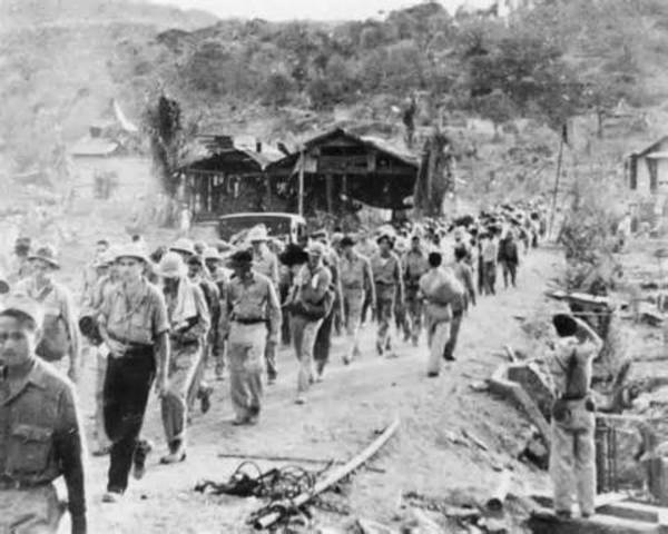 Gen. Edward King surrenders Bataan; death march begins