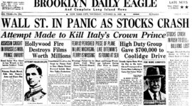Leading up to the Stock Market Crash of 1929 and crashes following timeline