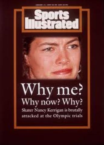 Nancy Kerrigan is clubbed in the Knee