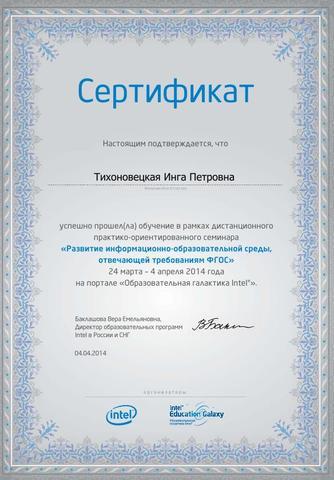 """Сертификат практико-ориетированного семинара """"Развитие информационно- образовательной среды"""""""