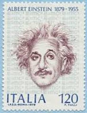 A stamp celebrating the 100 year anniversary of Einstien's birth.
