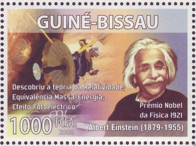 Einstein stamp issued in the West African country of Guinea-BIssau