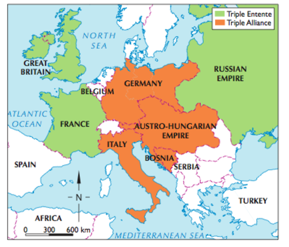the alliances formed before the start of world war i Before the beginning of world war one in 1914, the european countries had arranged themselves into a couple of defense alliances among the countries, the growing militarism increased the level of fear in the countries.