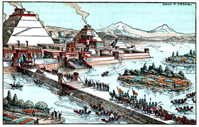 Llegada de Cortés y su ejercito a Tenochtitlan