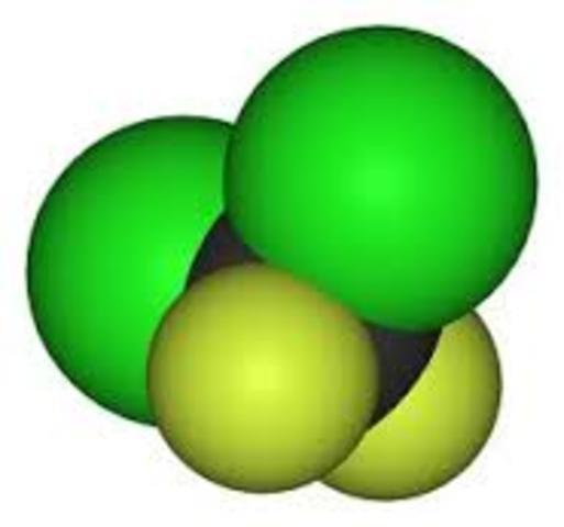 The first non-flammable, non-toxic chlorofluorocarbon gas
