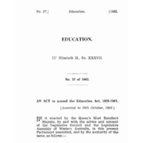 Education Act Amendment Act 1962