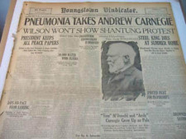 ANDREW CARNEGIE timeline | Timetoast timelines
