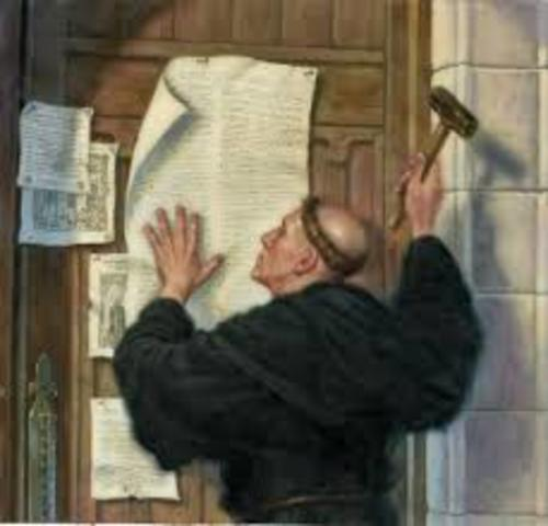 Martin Luther nailed 95 Thesis to the church door