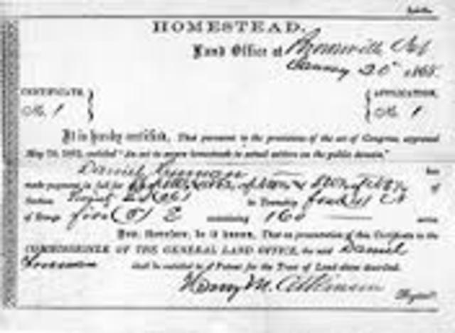 Homestead Act, Enacting During the Civil War