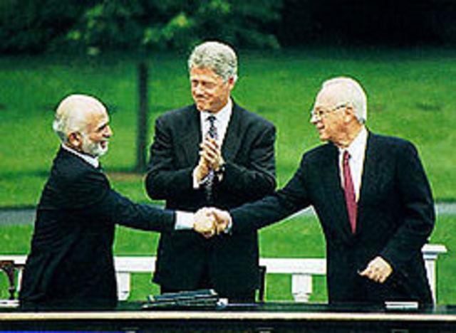חתימת הסכם השלום בין ישראל לירדן