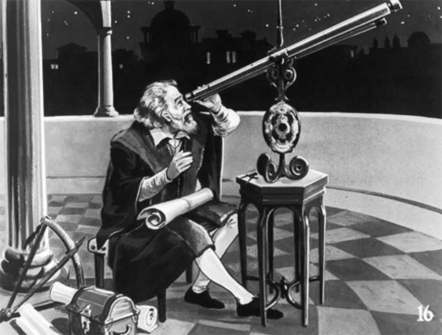 Galileo looking through his telescope