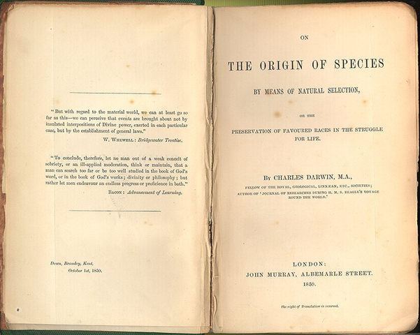Darwin Publishes Origin of the Species