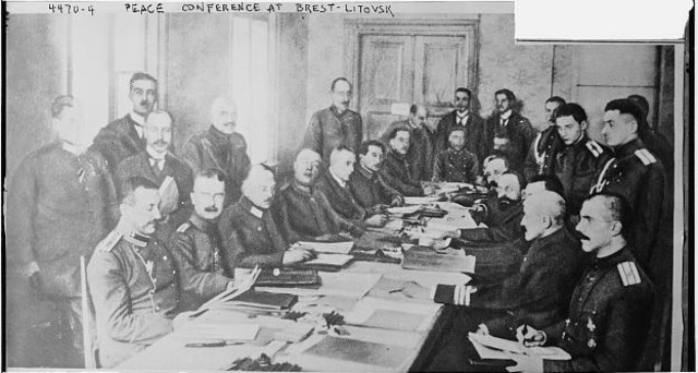 Treaty of Brest-Litovsk ends Russia's involvement in World War