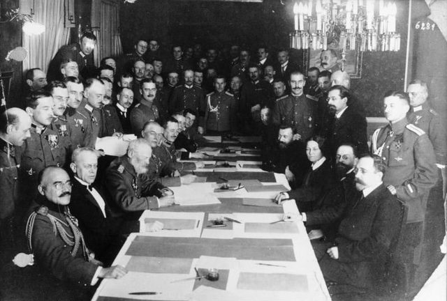 Treaty of Brest-Litovsk ends Russia's involvement in WWI