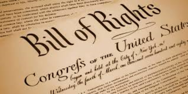 The first ten amendments added to the Constitution in 1791 became known as the Bill of Rights.