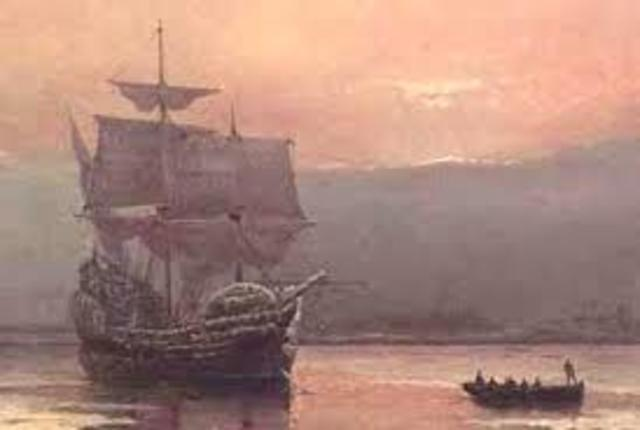 The Mayflower lands at Plymouth Rock, Massachusetts