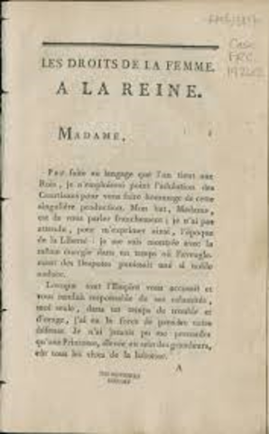 Olympe de Gouges writes declaration wties declaration of right for women
