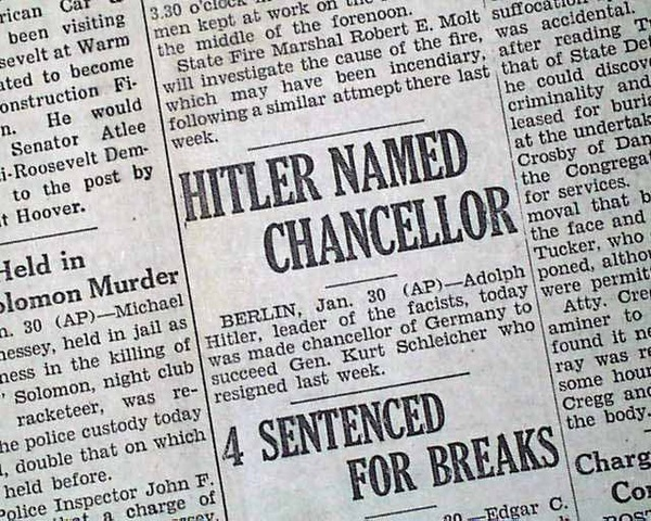 Hilter becomes Germany's Chancellor