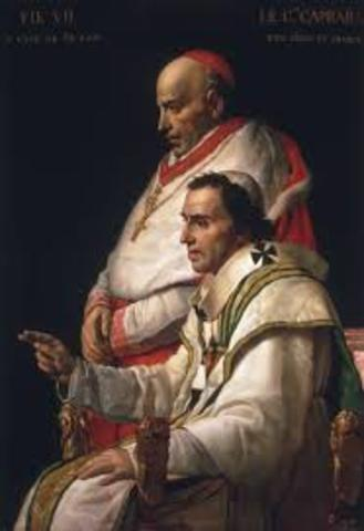 Napoleon reaches agreement with the pope