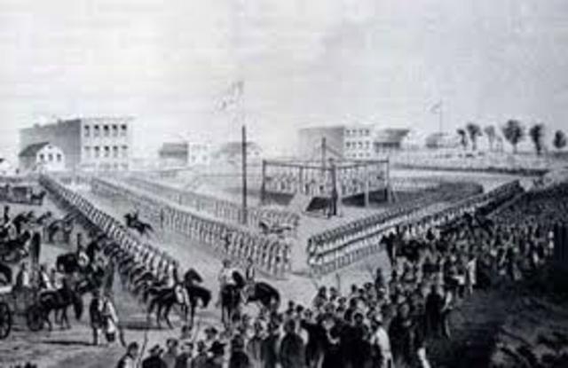 Dakota Indians bypass Fort Ridgely