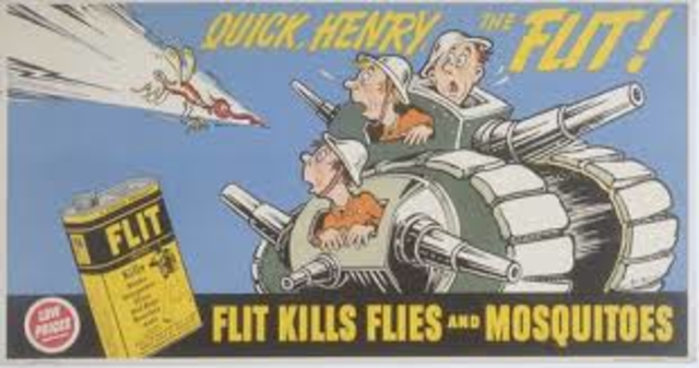 "Begins drawing ""Quick, Henry, the Flit!"" advertisements"