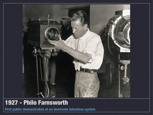 Philo Farnsworth transmits first electronic television image and patents first electronic system
