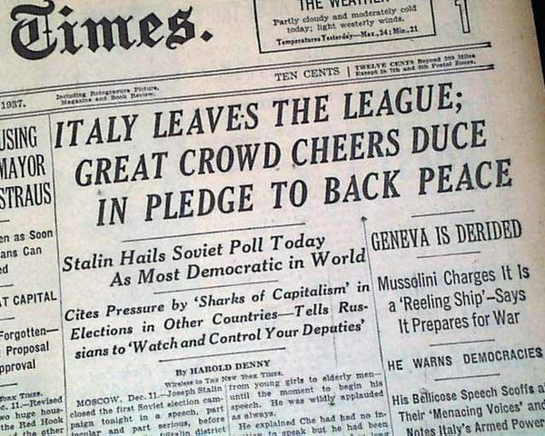 Italy leaves the League of Nations
