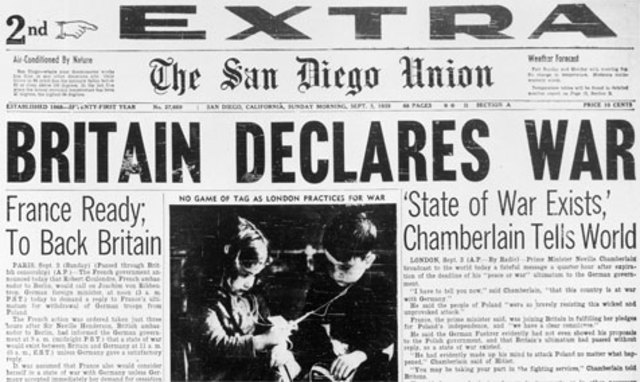 France and Great Britain declare war on Germany.