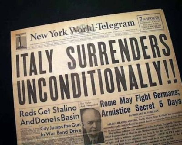 Italy surrenders to the Allies, however Germany helps Mussolini to escape and set up a government in Northern Italy