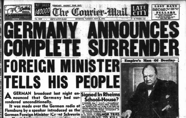 Germany surrenders to the Allies.