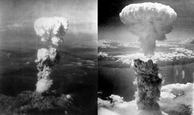 Another atomic bomb is dropped on Nagasaki, Japan.