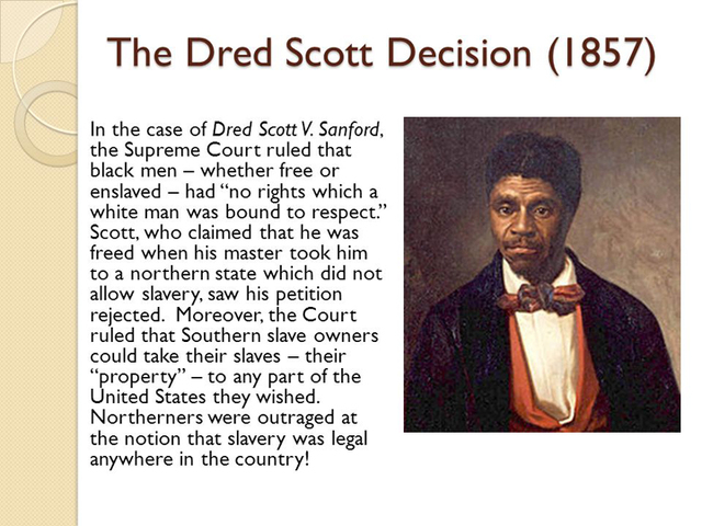 a history of the dred scott court case 1856 in an atmosphere of increasing distrust between north and 1857 south, the dred scott case is considered by the us supreme court montgomery blair and george t curtis argue on behalf of the scotts, reverdy jonson and henry s geyer for sanford.