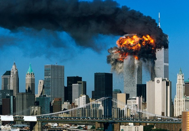 Two planes crash into the Twin Towers.