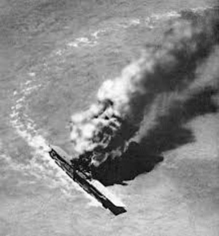 USS Yorktown Hit By Two Japanese Missiles