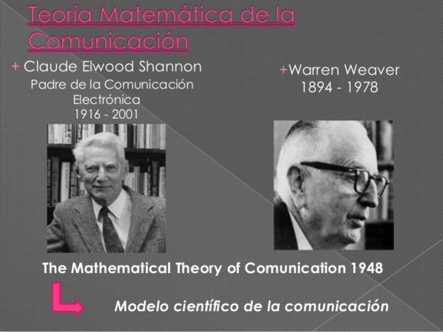 TEORIA DE INFORMACOÓN Y LA COMUNICACIÓN. CLAUDE ELWOOD SHANNON (1916-2001) WARREN WEAVER (1894-1978)
