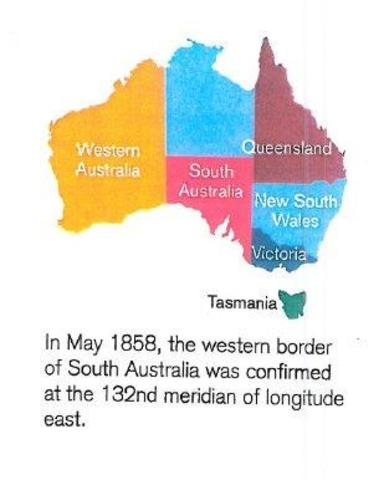 In may 1858 the western border of South Australia was confirmed
