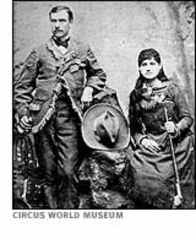 "Annie Oakley              Born                  Father passed away                  Sent Away                  Shooting for food and money                  Married                  ""Little Sure Shot""                  Joined Buffalo Bill's Wild West Show                  Train Wreck                  Shooting was better than ever!                  Still setting records at 66 years old                  Annie paassed away"