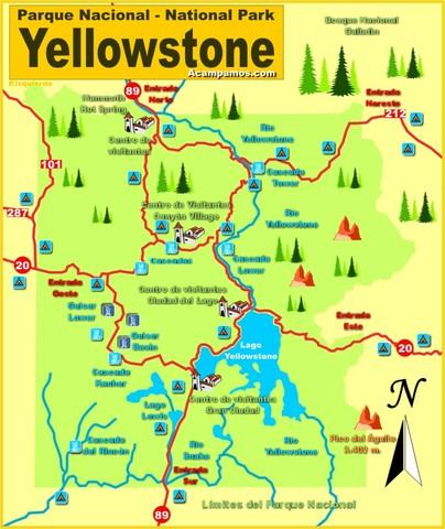 """(Estados Unidos) Primer Parque Nacional """"Yellowstone""""."""