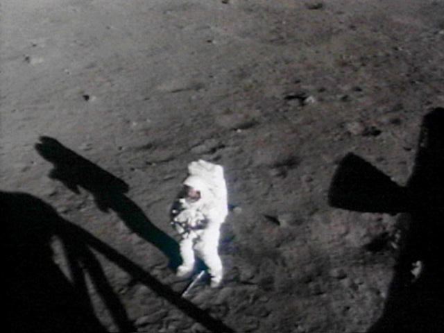 The television has covered footage on the moon
