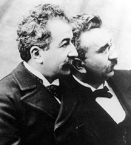 The Lumiere brothers, world's first public film screening