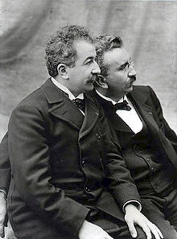 The Lumières held their first private screening of projected motion pictures in 1895