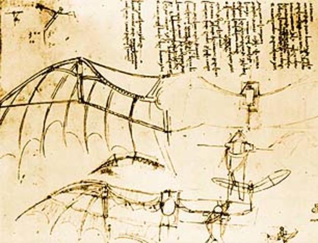 Leonardo Da Vinci Antique Flying Machine Under Parchment ... |Leonardo Da Vinci Flying Machine